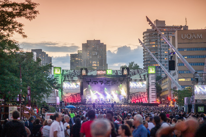The stage and crowd at the Festival international de jazz de Montréal
